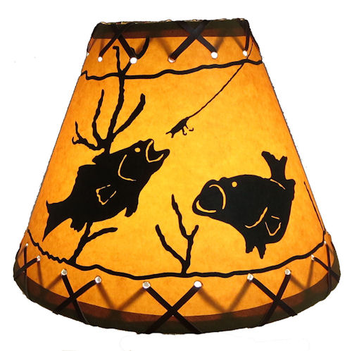 9 fish clip on texas lamp parts faux oiled kraft laced lamp shade with lacing top and bottom with regular brass plated clip on that attaches to standard bulb aloadofball Gallery