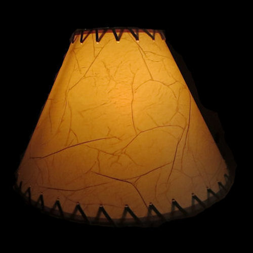 "CRACKLE 14"" LAMP SHADE WITH SUEDE LACING"