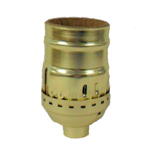 BRASS-PLATED KEYLESS SOCKET (NO SET SCREW)