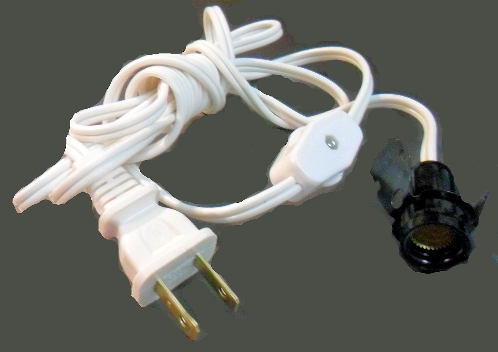 6\' WHT CORD/ SNAP-IN SKT W/SWITCH SPT-1, Texas Lamp Parts