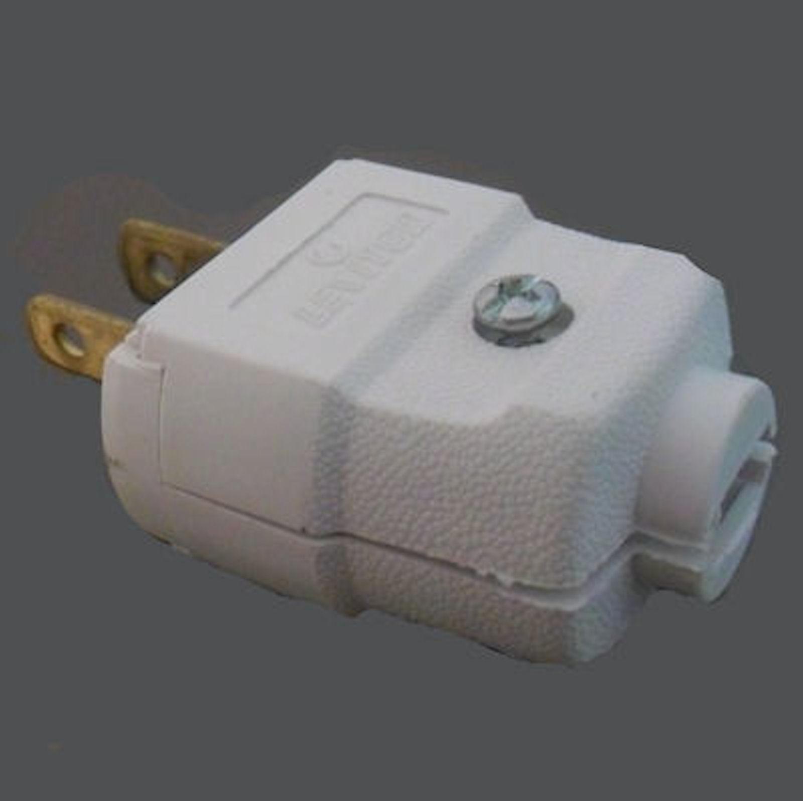 WHITE MALE 2-WIRE 2-POLE PLUG, Texas Lamp Parts