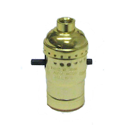 BRASS-PLATED PUSH-THRU SOCKET (NO SET SCREW)