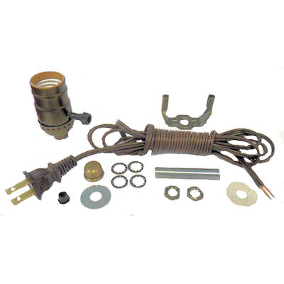 ANTIQUE BR KIT: 3-WAY SOCKET, 8' BROWN CORD