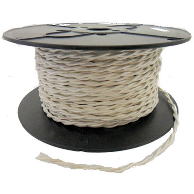 TWISTED WHITE RAYON LAMP WIRE